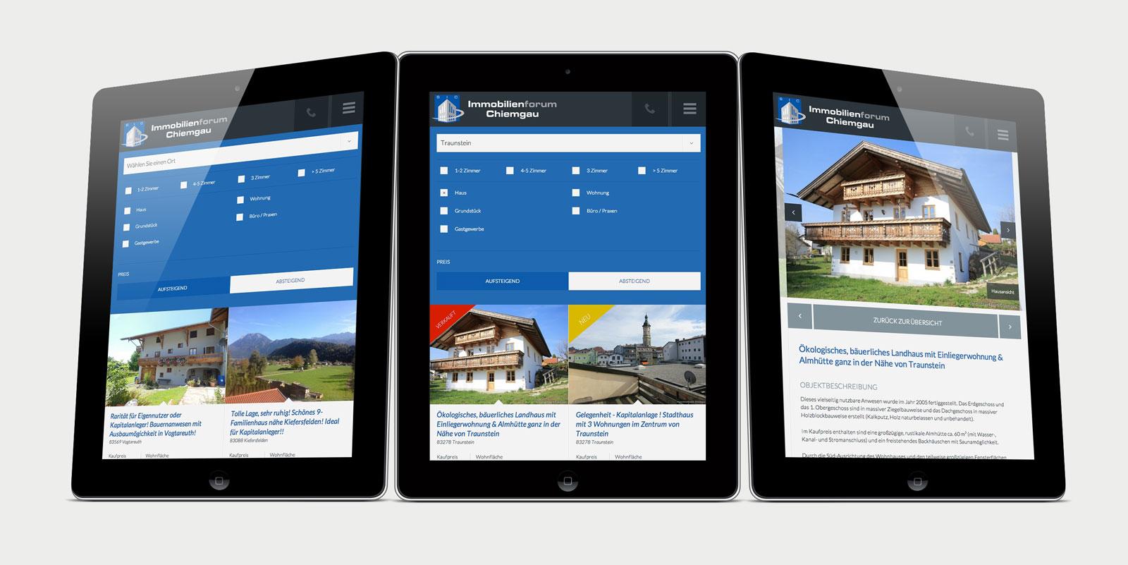 Immobilienforum Chiemgau Tablet Ansicht