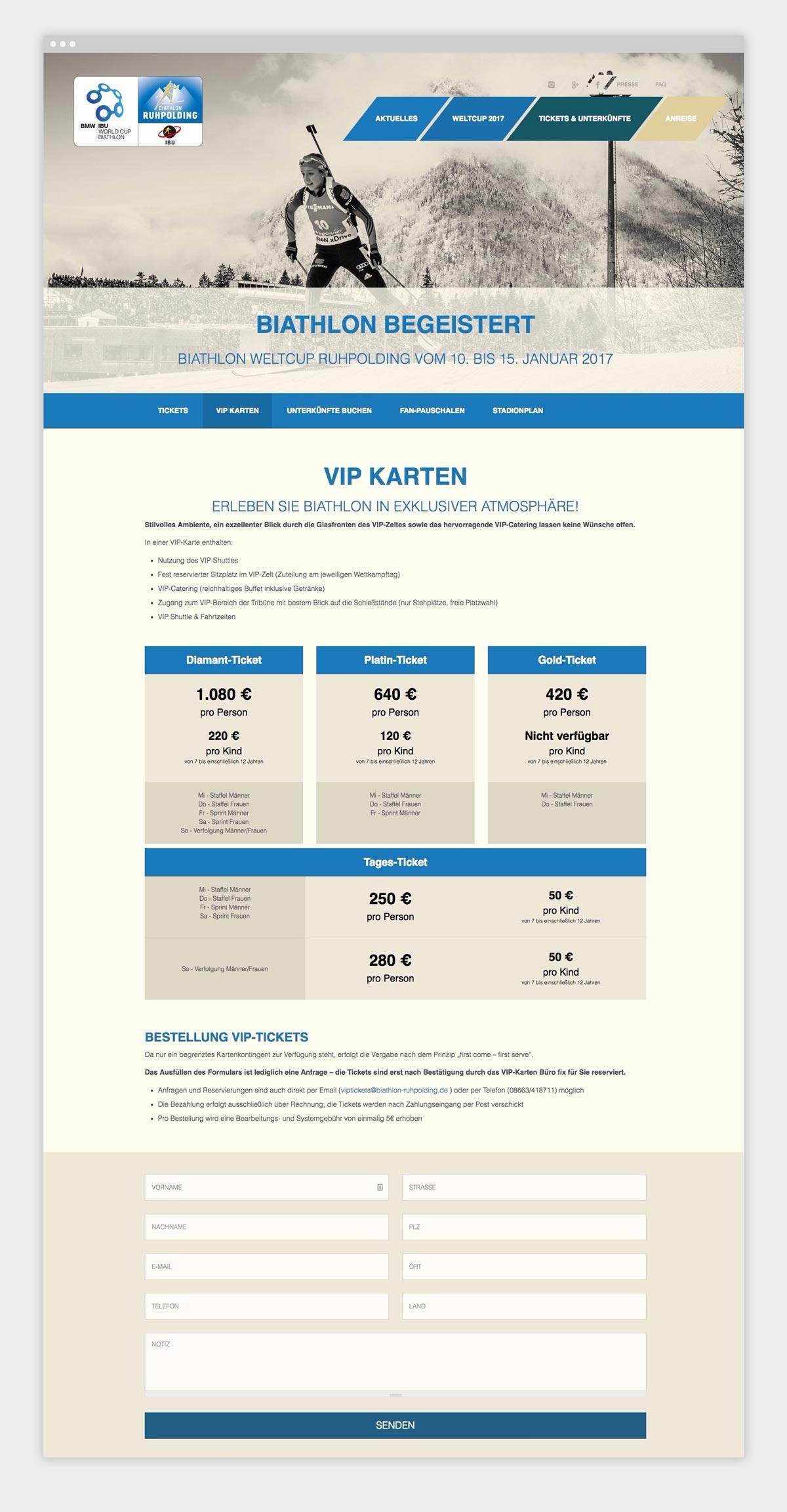 Screenshot einer Inhatlsseite