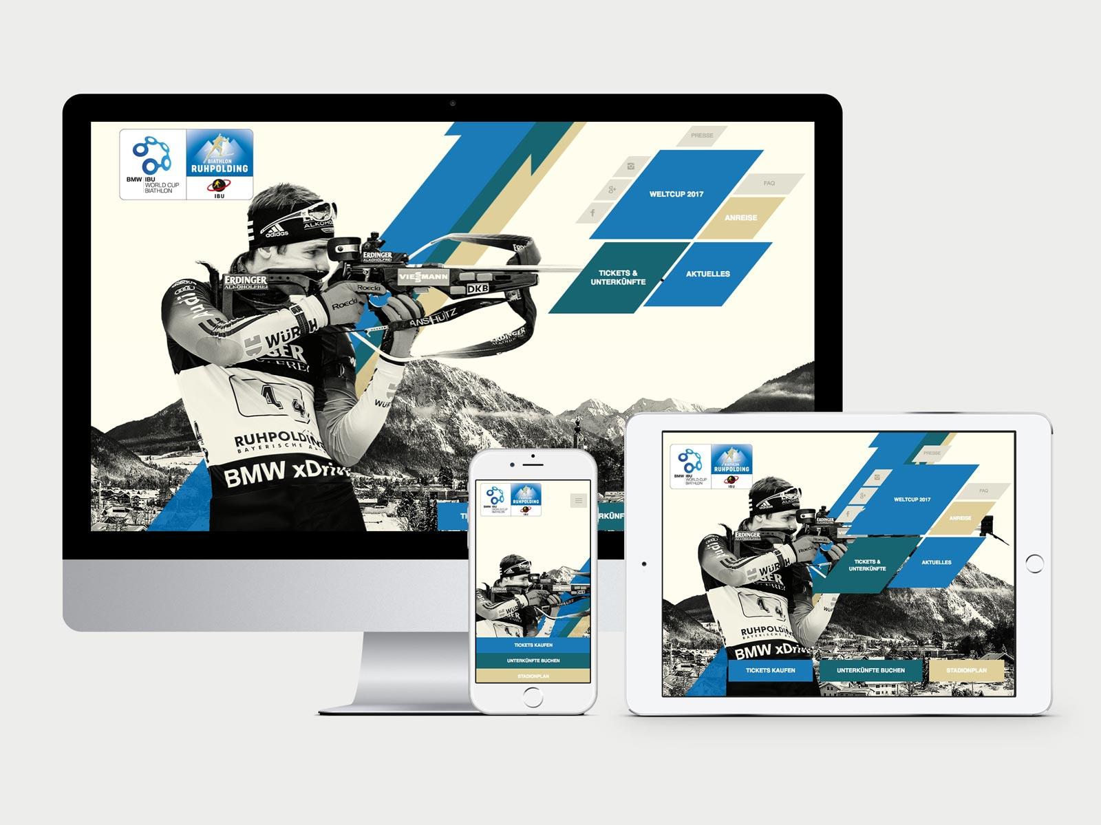 Darstellung der Website auf Monitor, iPhone6 und iPad Air