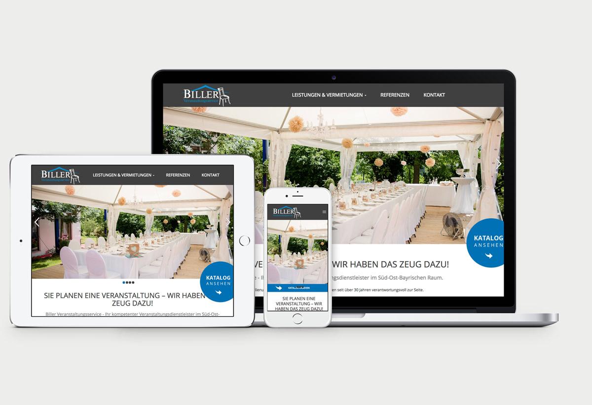 Startseite von Biller Veranstaltungsservice auf Macbook Pro, iPad und iPhone