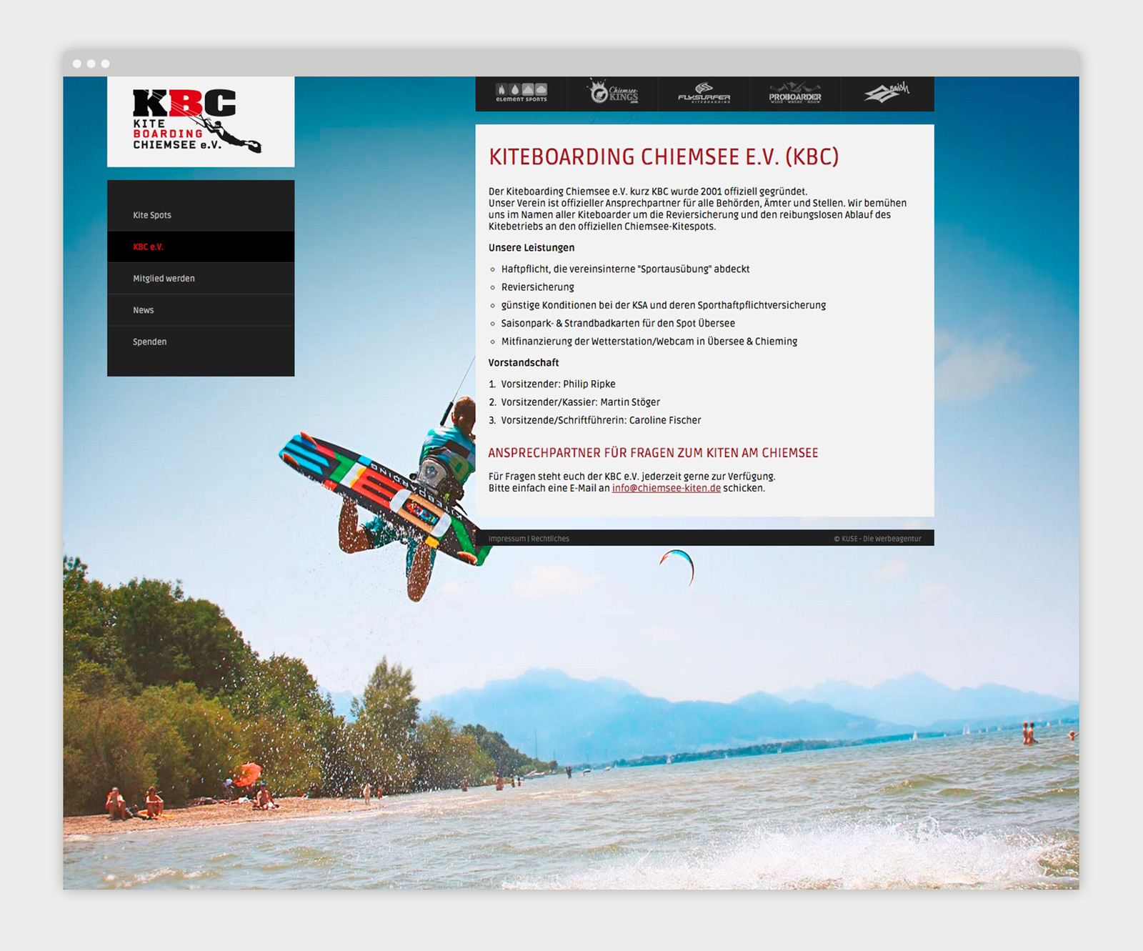 Kiteboarding Chiemsee e.V. Website Detailansicht