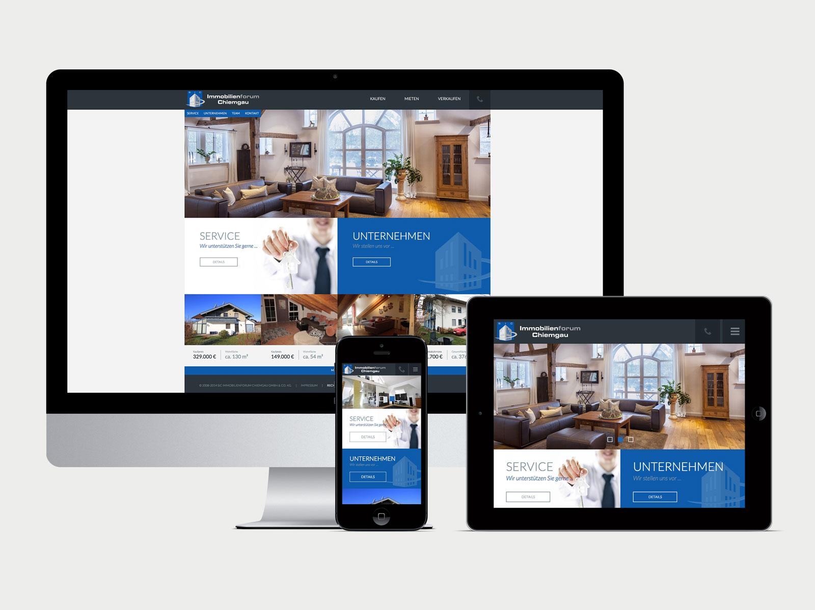 Immobilienforum Chiemgau Desktop, Tablet und iPhone Ansicht