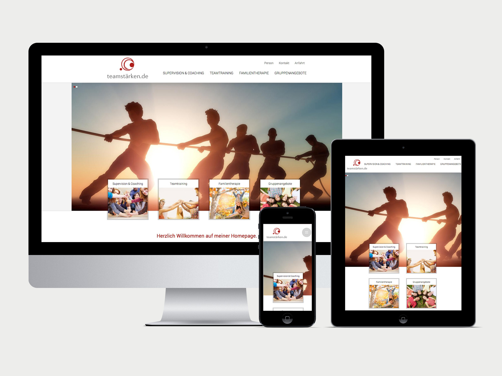 teamstärken.de Website Desktop, iPad und iPhone Ansicht