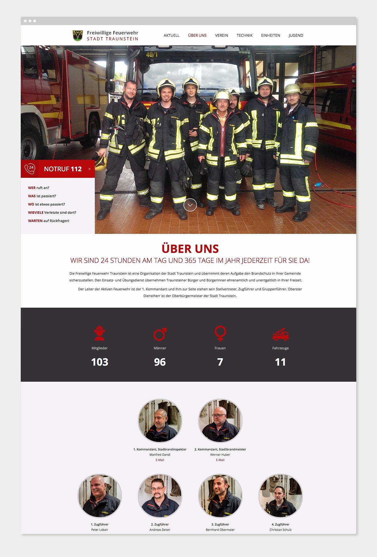Website Freiwillige Feuerwehr Traunstein