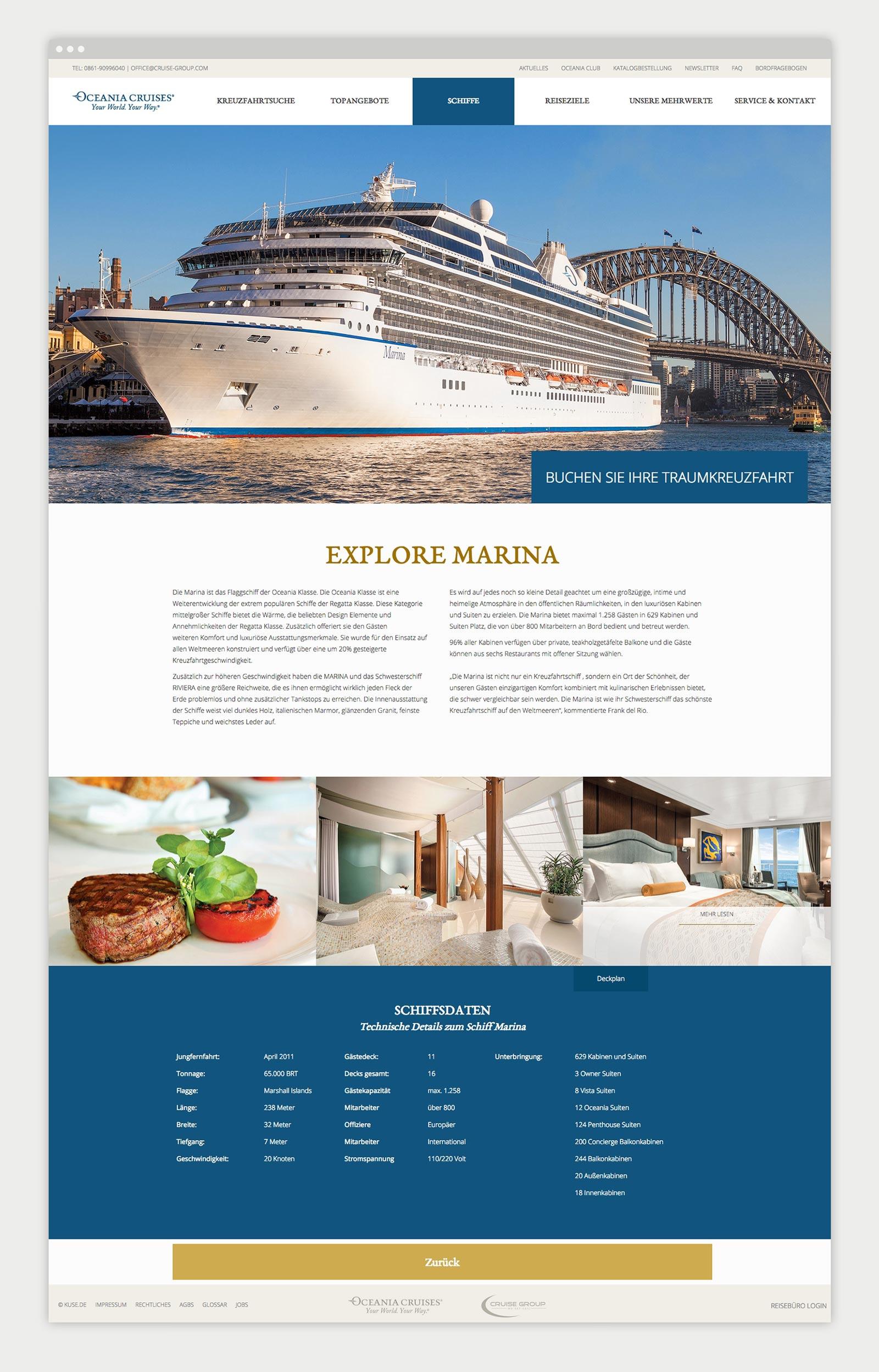 Oceania Cruises Kreuzfahrten Detailseite Schiffe