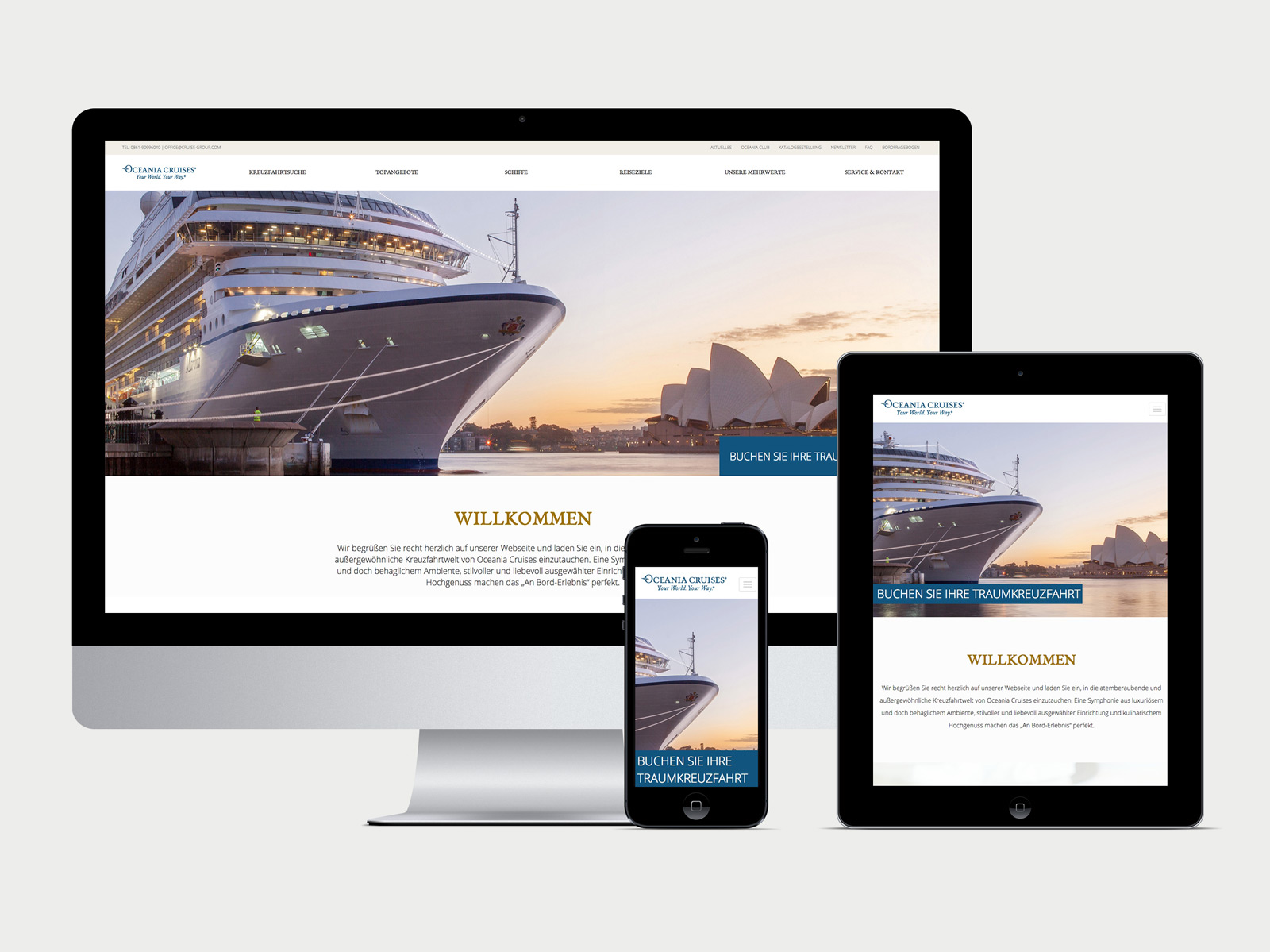 Oceania Cruises Kreuzfahrten Startseite der Website