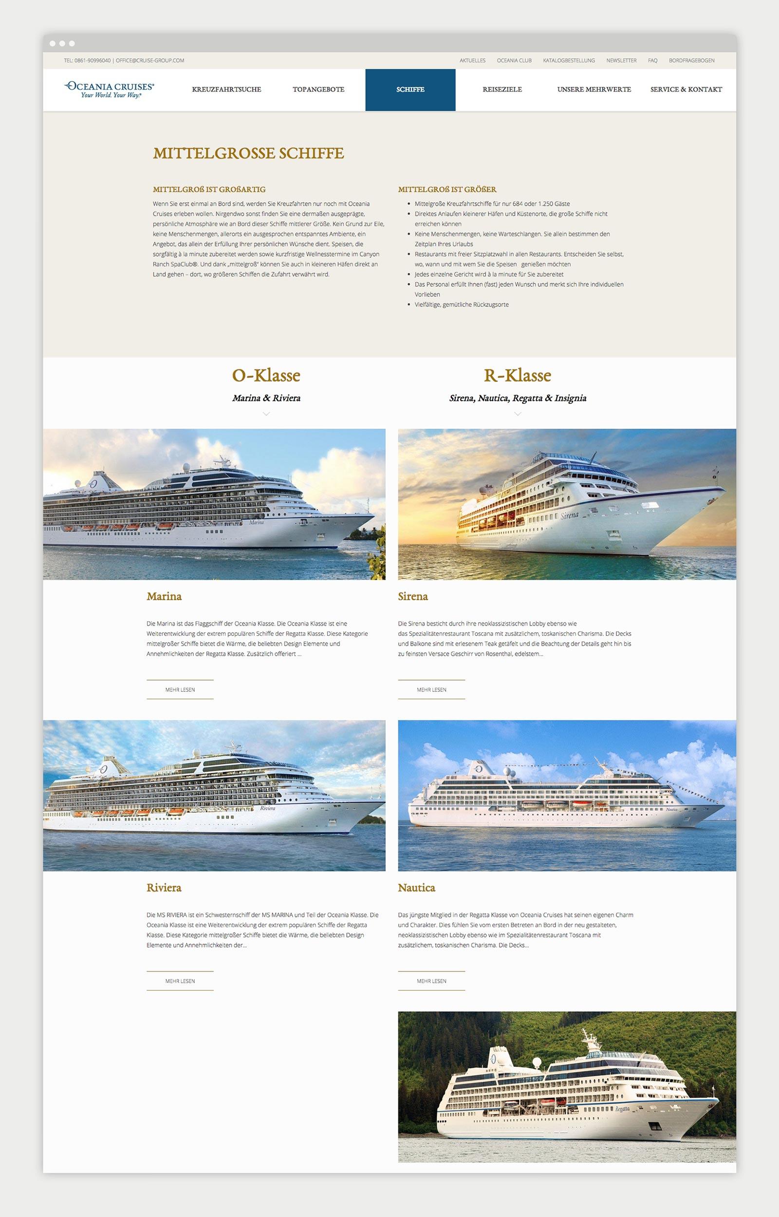 Oceania Cruises Kreuzfahrten Übersichtsseite Schiffe