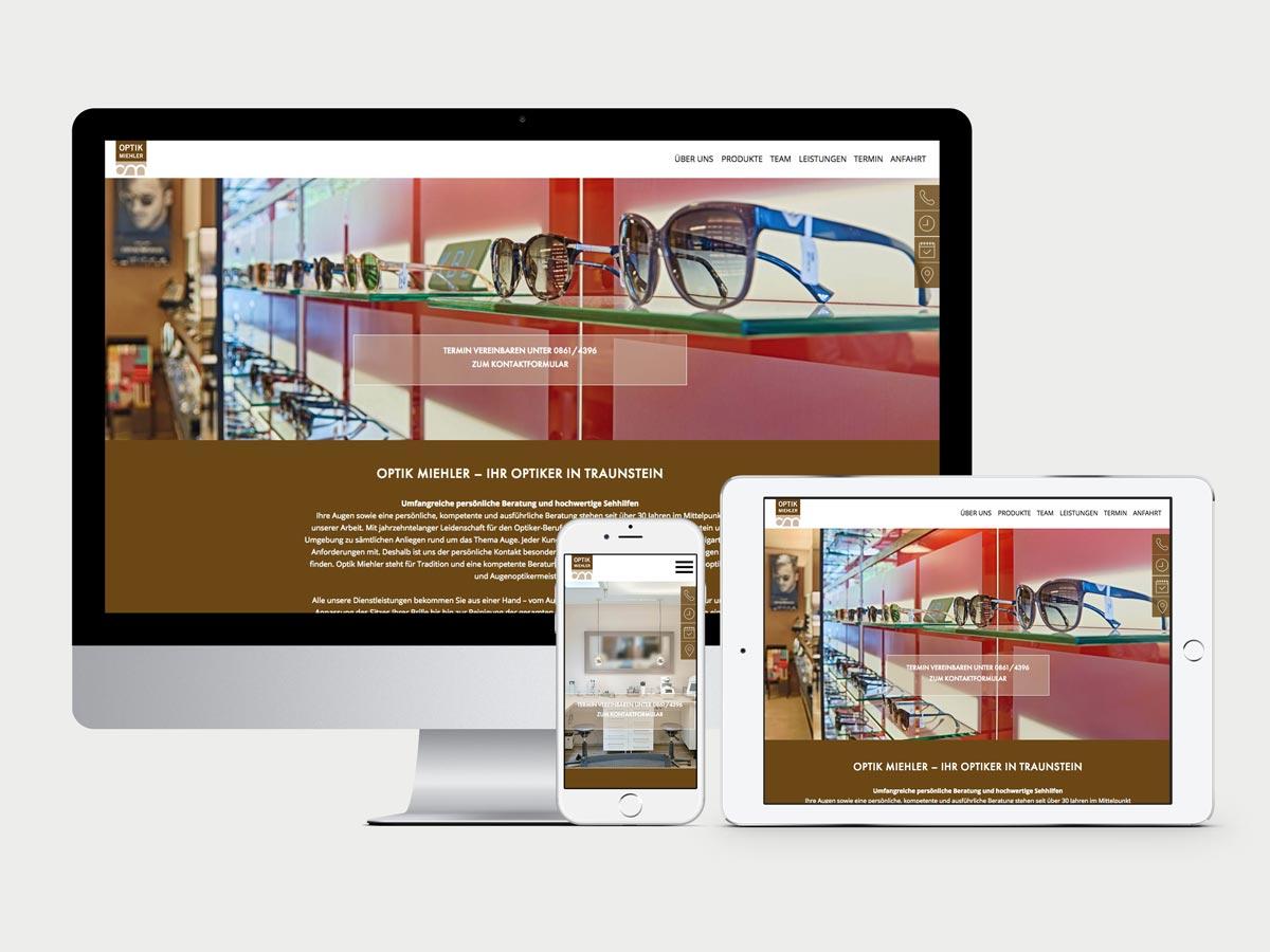 Darstellung der Website Optik Miehler auf Monitor, iPhone6 und iPad Air