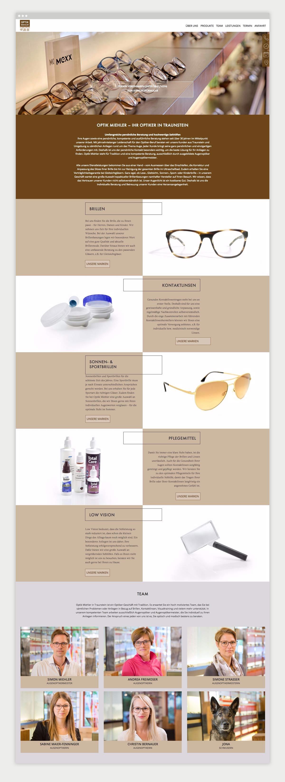 Darstellung Contentseite Optik Miehler