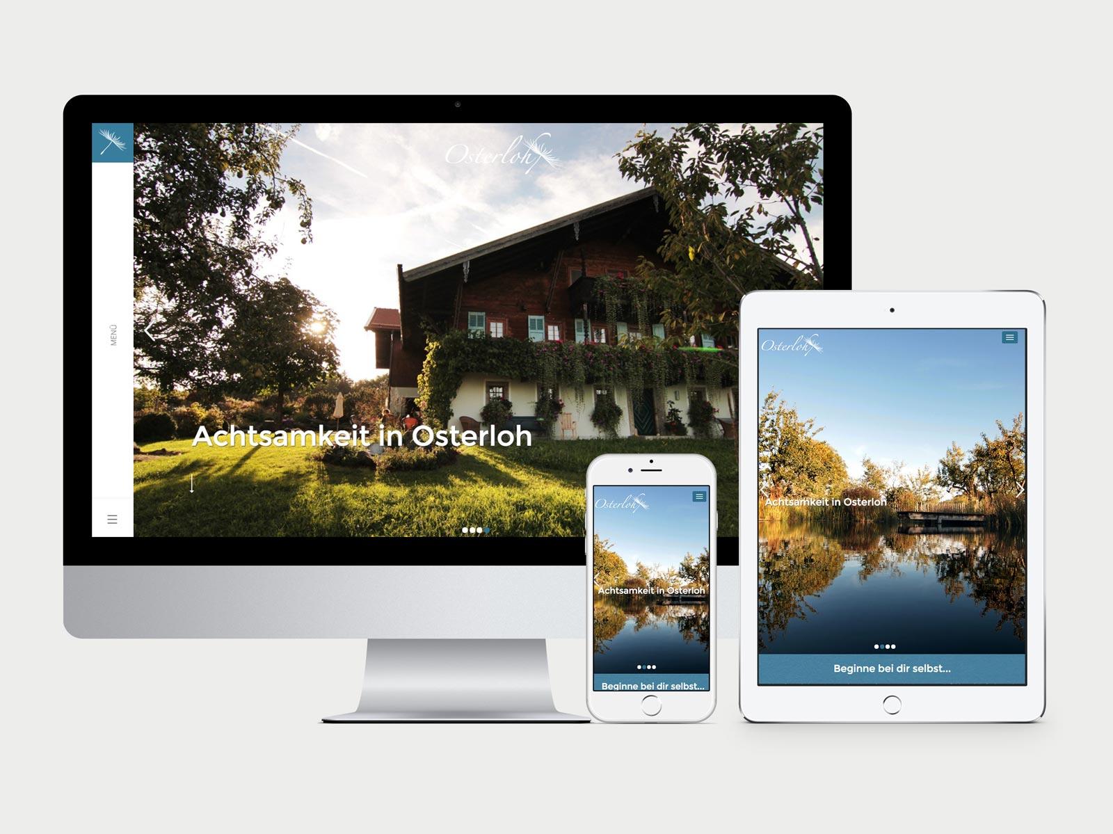 Startseite von achtsamkeit-osterloh.org, dargestellt auf iMac, iPhone, iPad