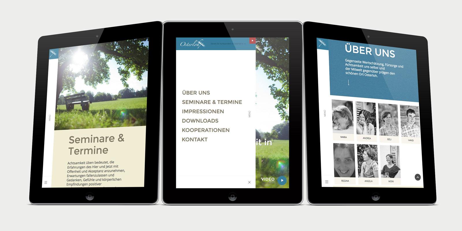 Contentseite von achtsamkeit-osterloh.org, dargestellt auf iPad