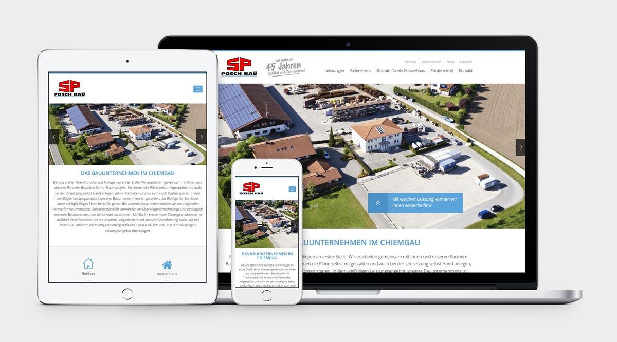 Startseite von Posch Bau auf Macbook Pro, iPad und iPhone