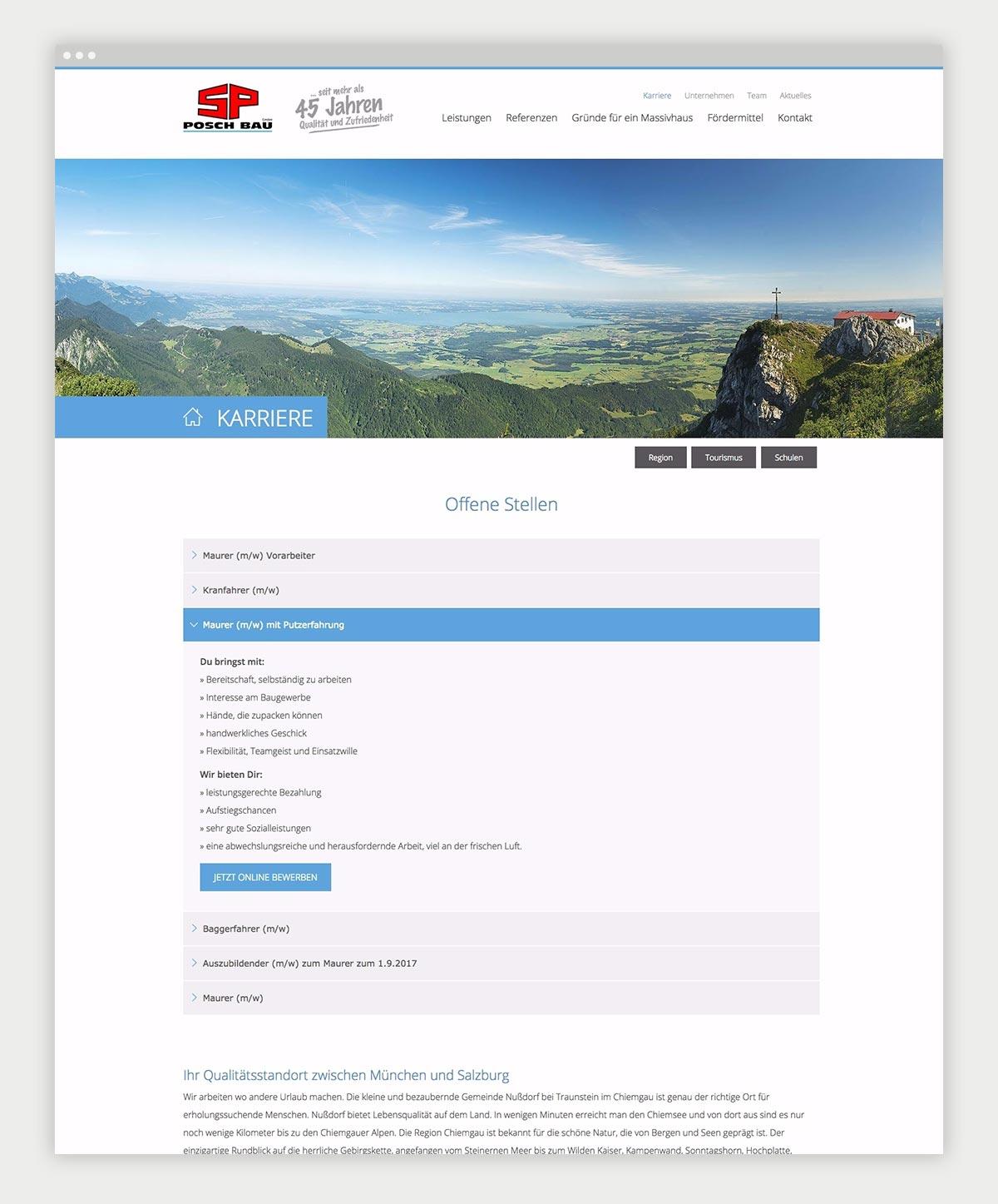 Contentseite von Posch Bau