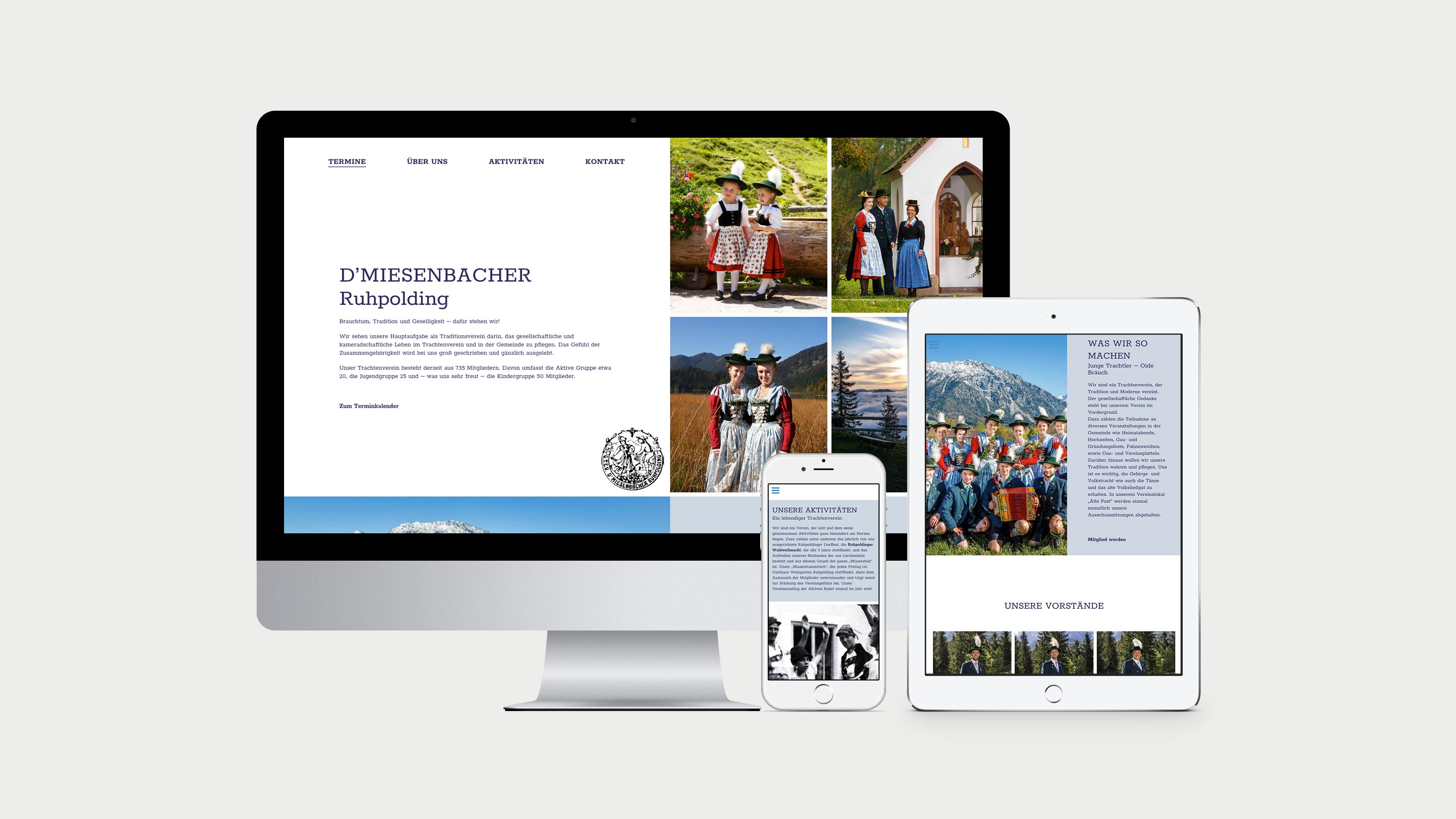 Ansicht der Website auf Desktop, Tablet und Phone