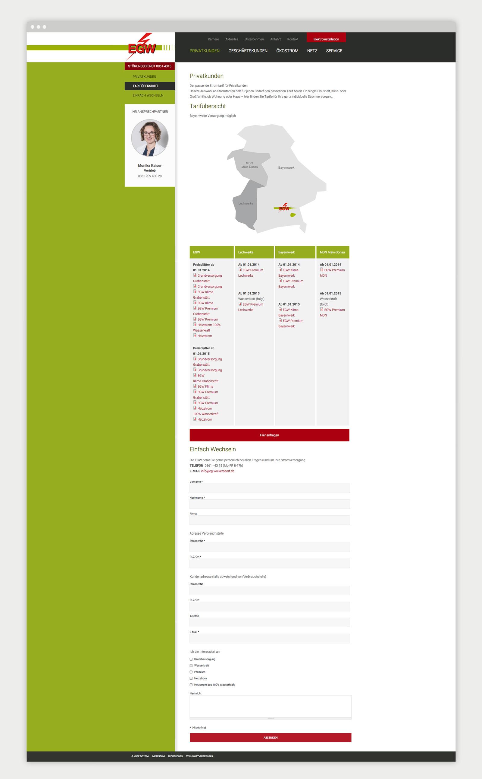 Elektrizitätsgenossenschaft Wolkersdorf Website