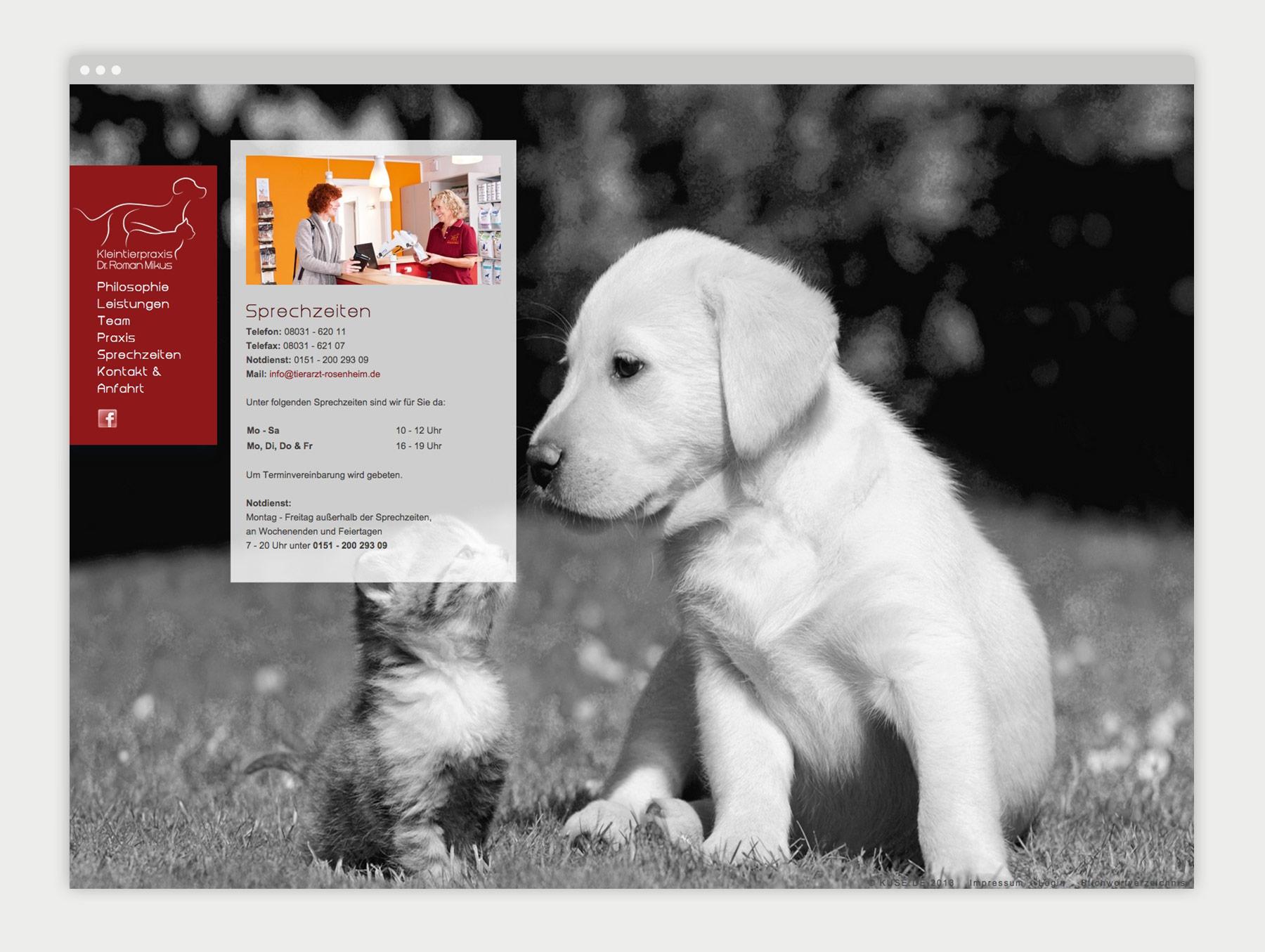 Kleintierpraxis Dr. Roman Mikus Website Sprechzeiten
