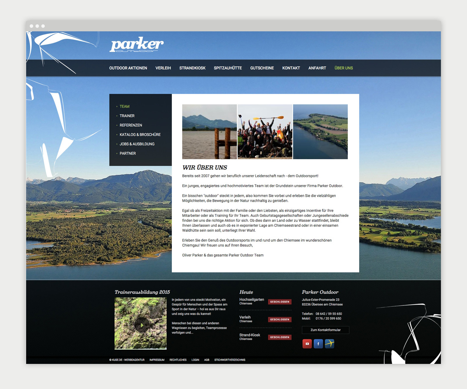 Parker Outdoor Website - Mockup Team