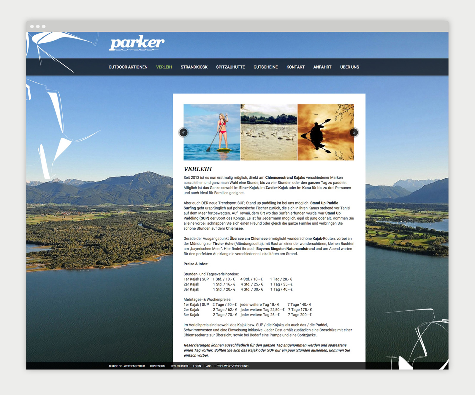 Parker Outdoor Website - Mockup Verleih