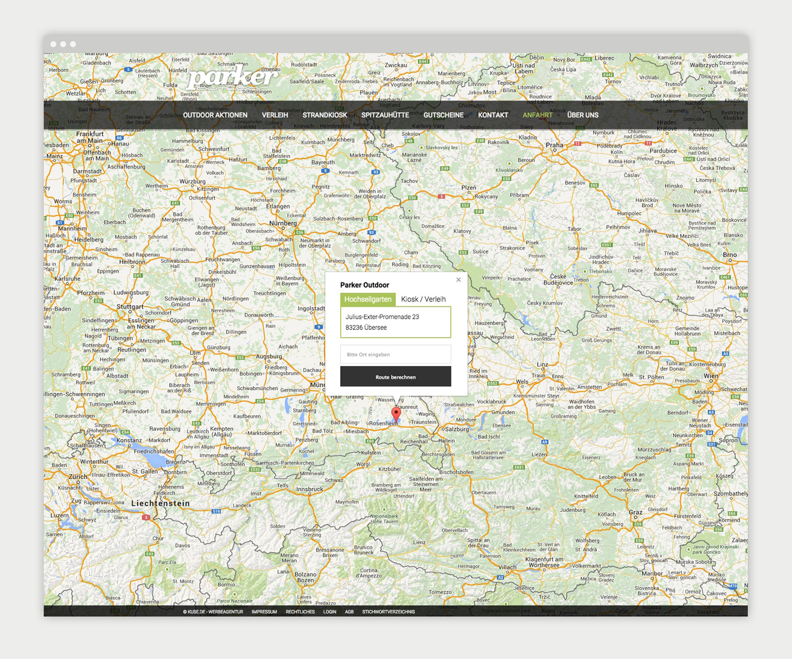Parker Outdoor Website - Mockup Anfahrt