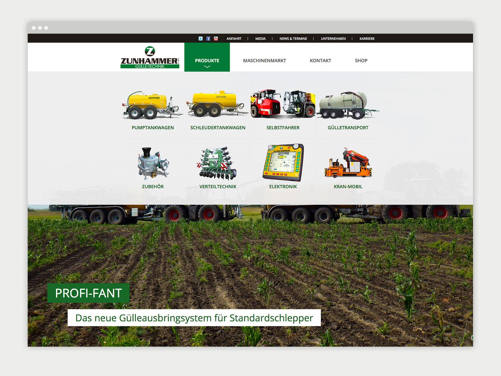 Zunhammer Website Detailseite
