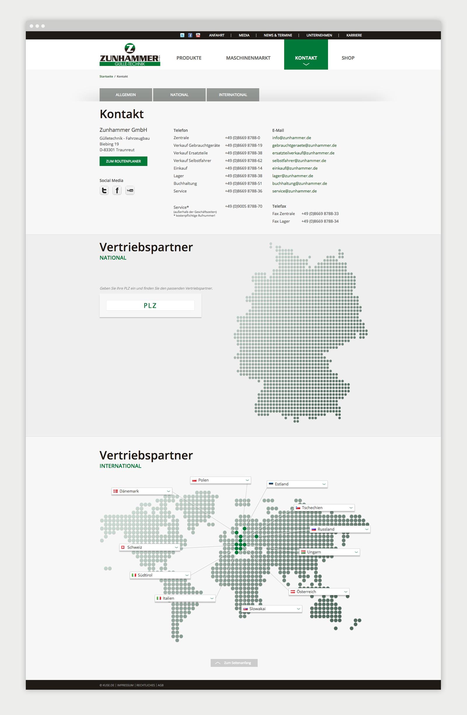 Zunhammer Website Händlerübersicht
