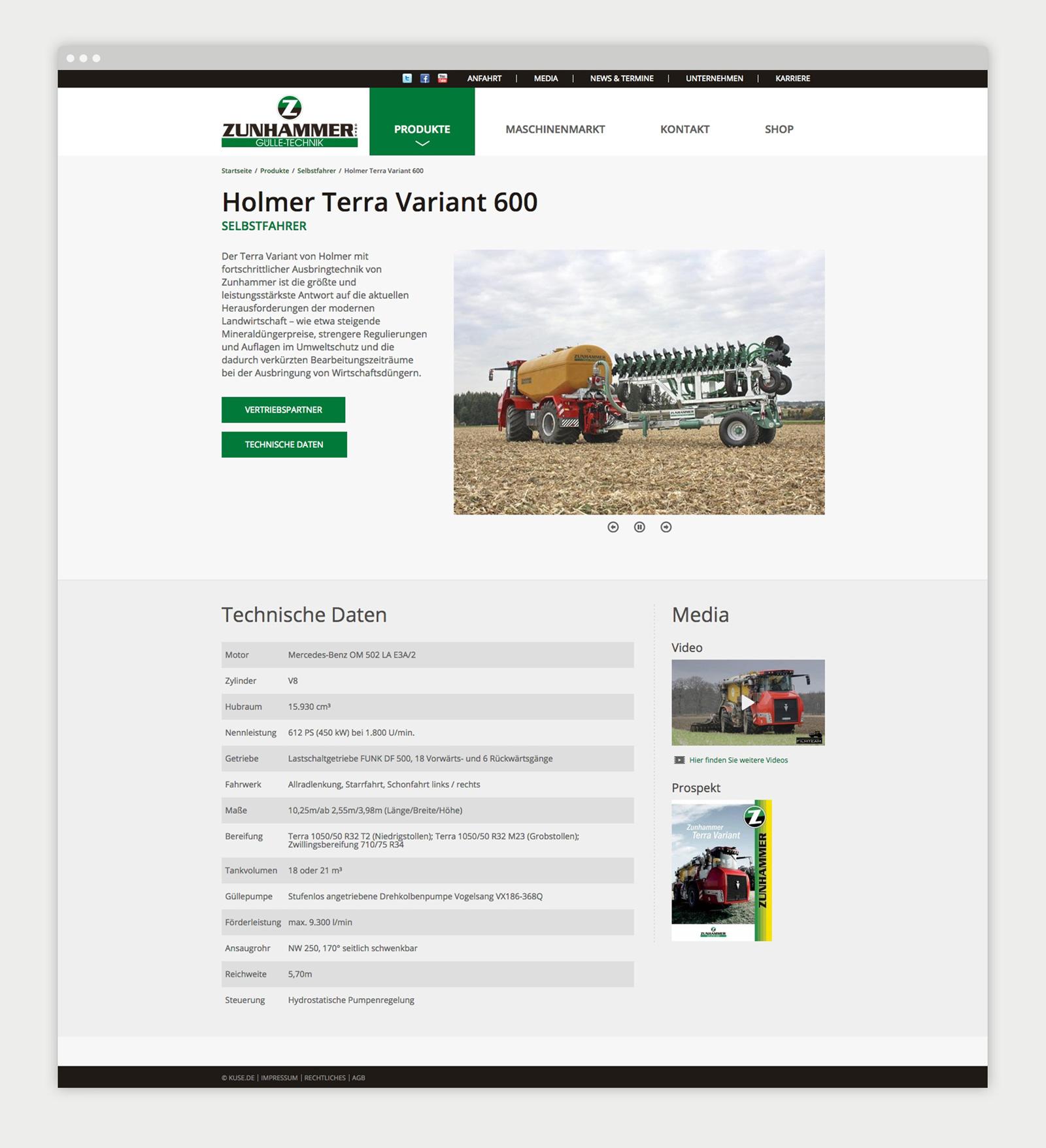 Zunhammer Website Produktübersicht