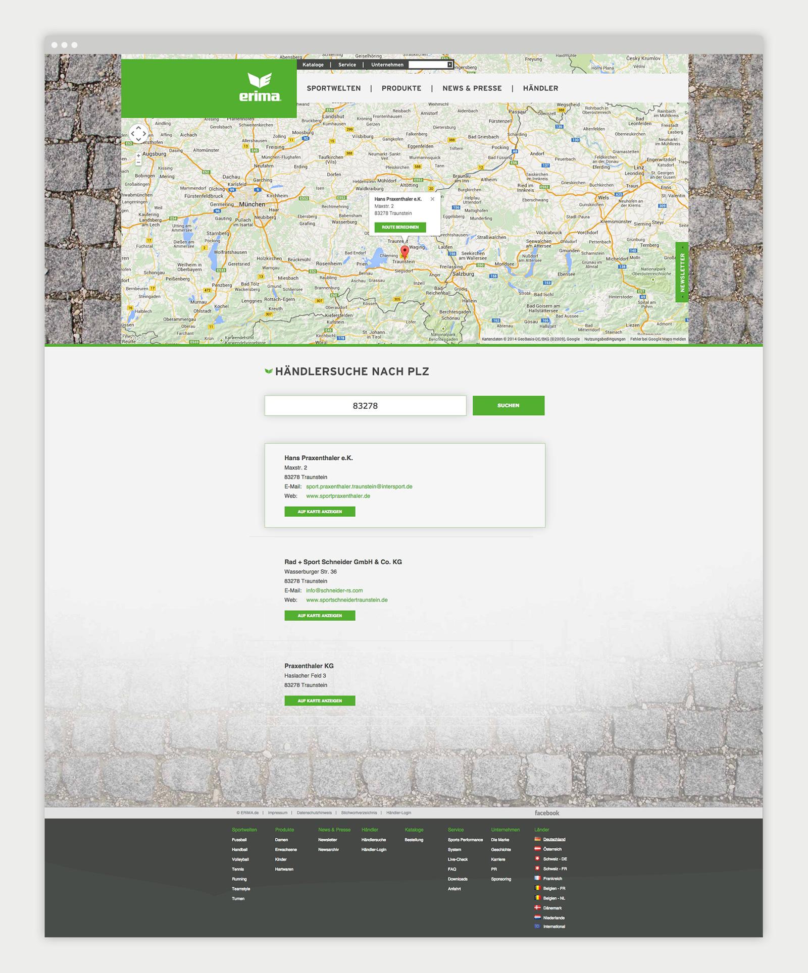 Anfahrt - Erima Website