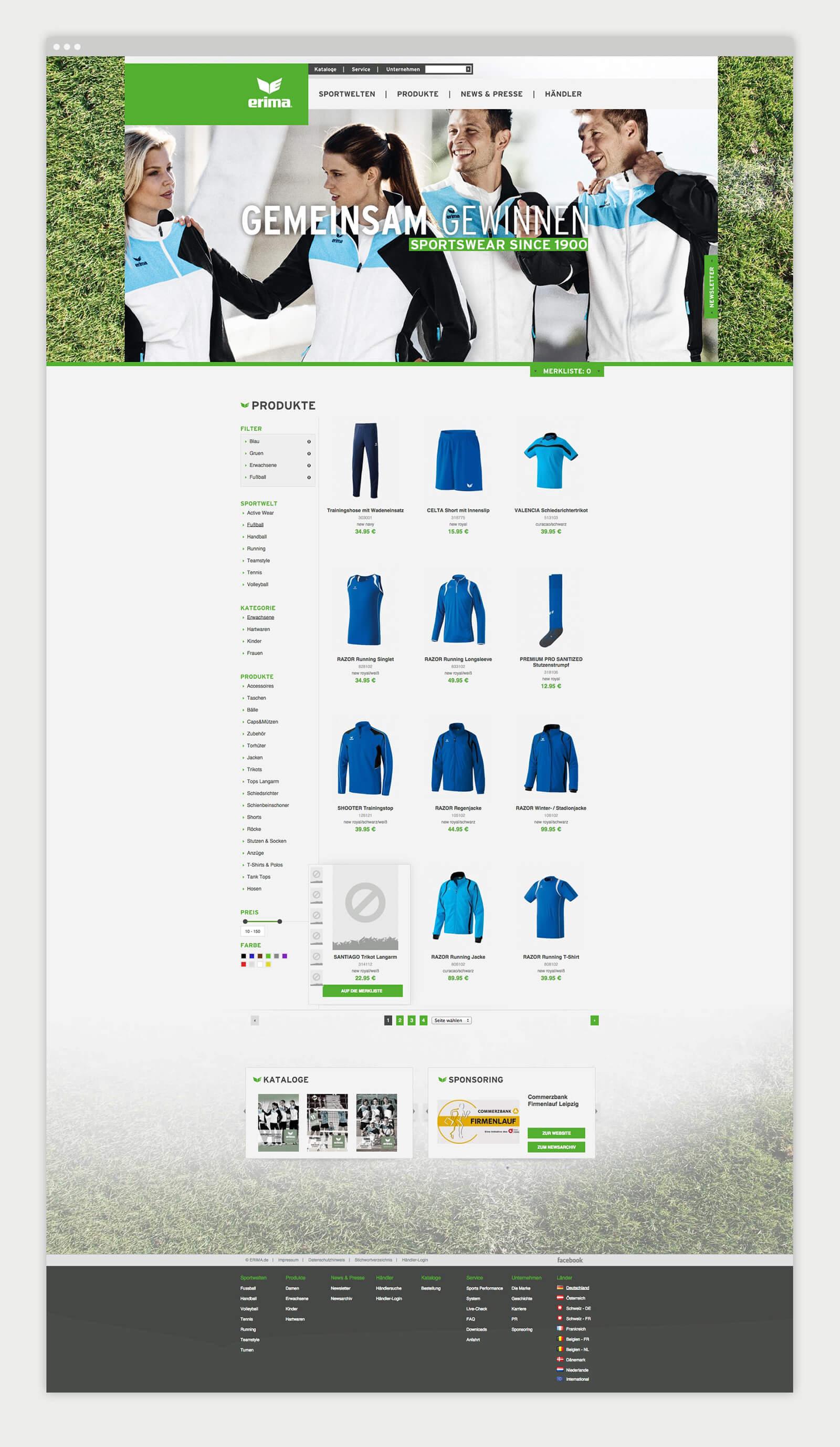 Produkte - Erima Website