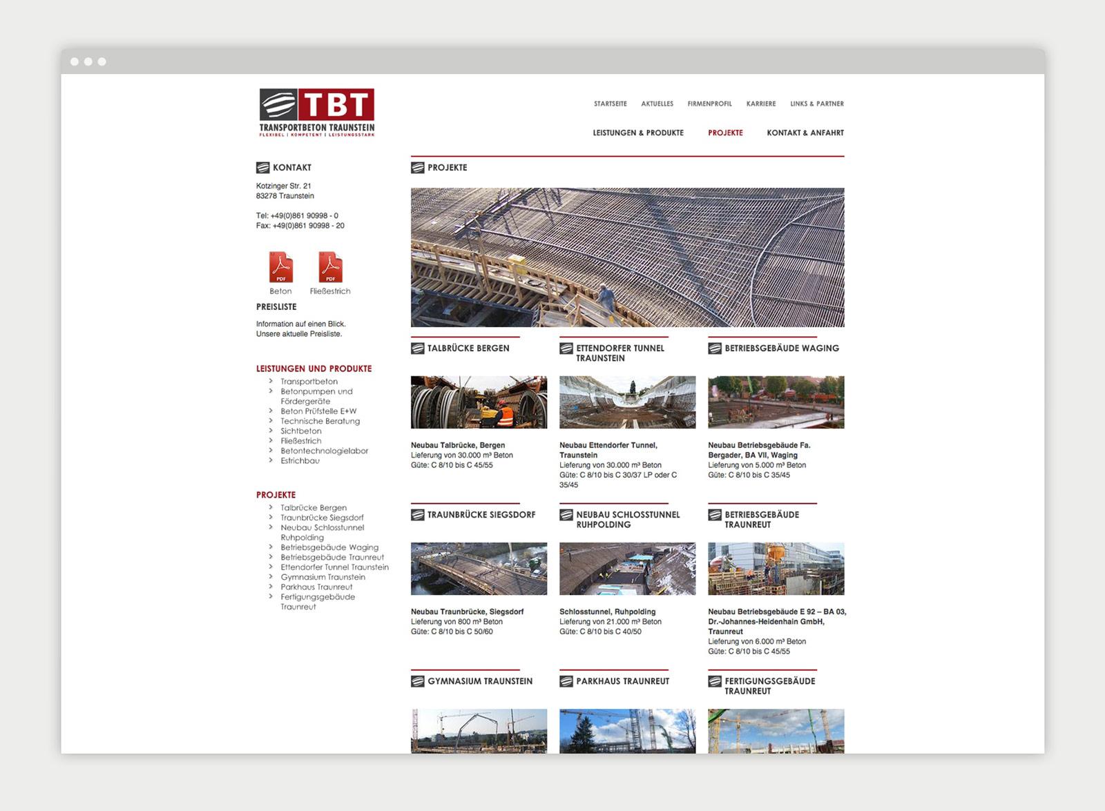 Transportbeton Traunstein Website Mockup 2
