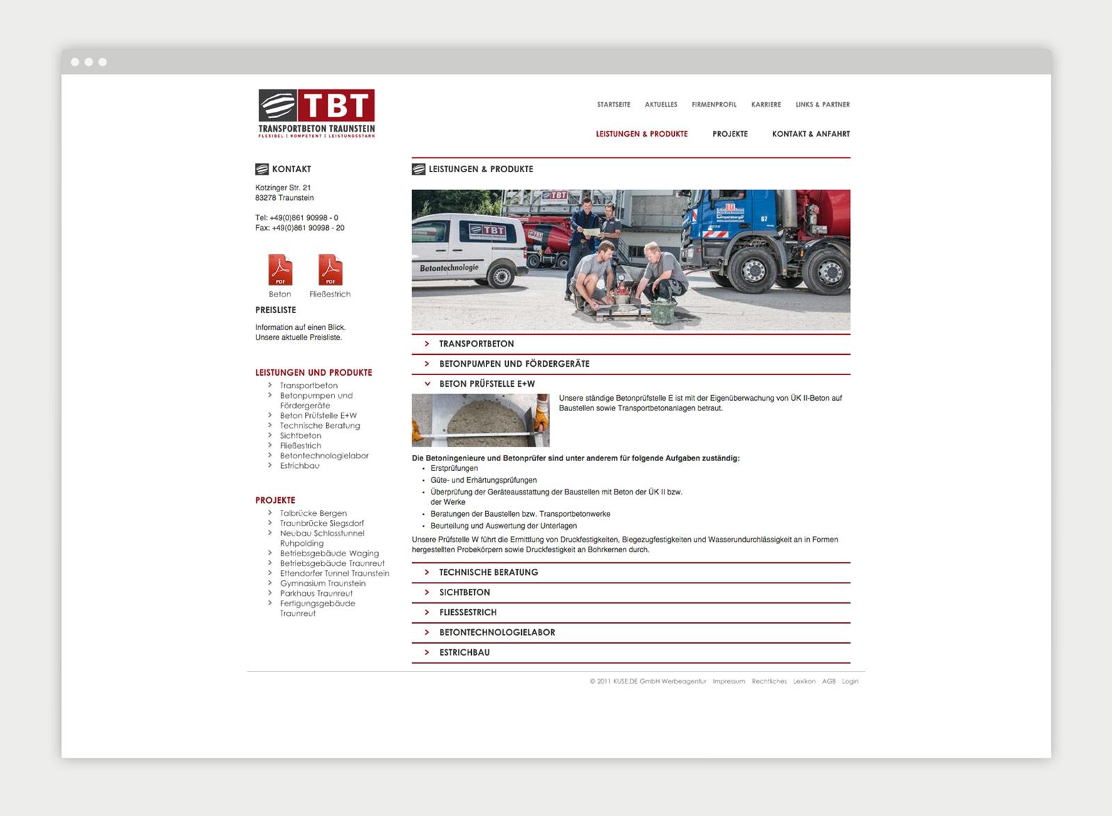 Transportbeton Traunstein Website Mockup 3