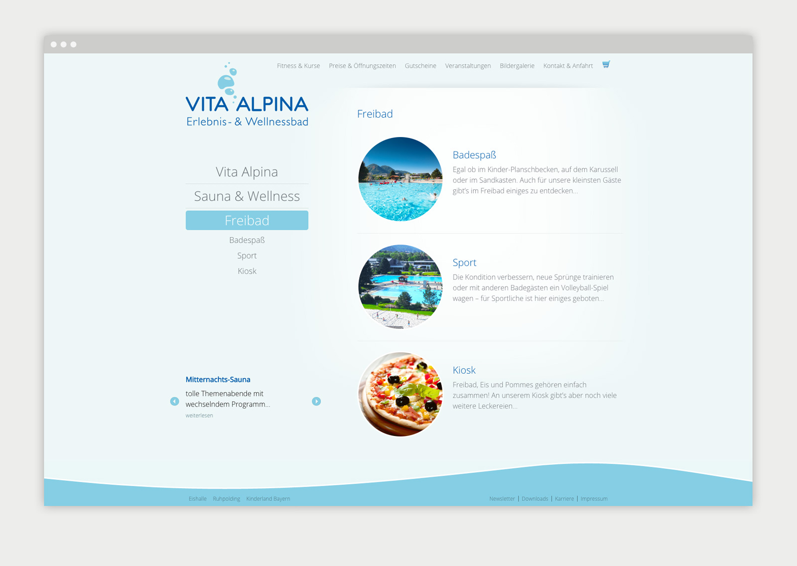 Vita Alpina Website Detailseite