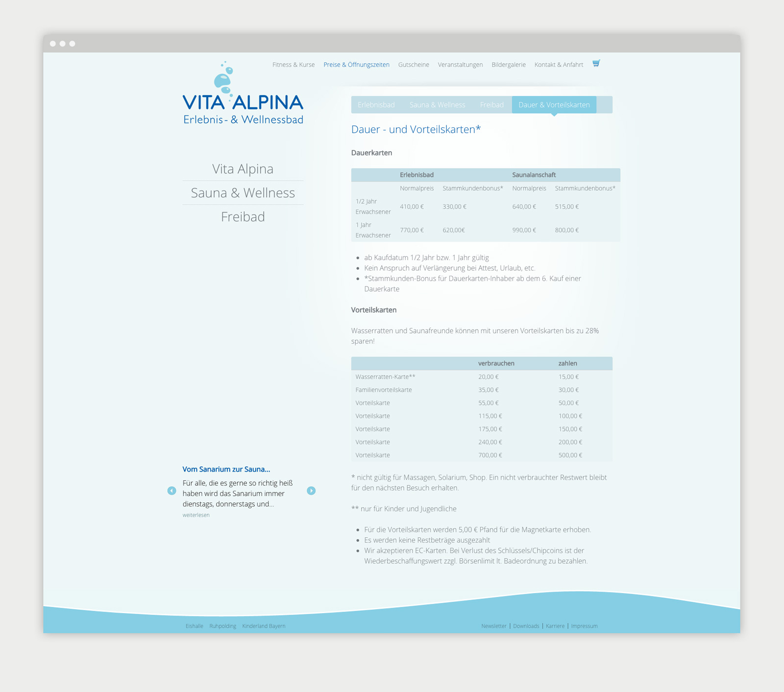 Vita Alpina Website Preisliste