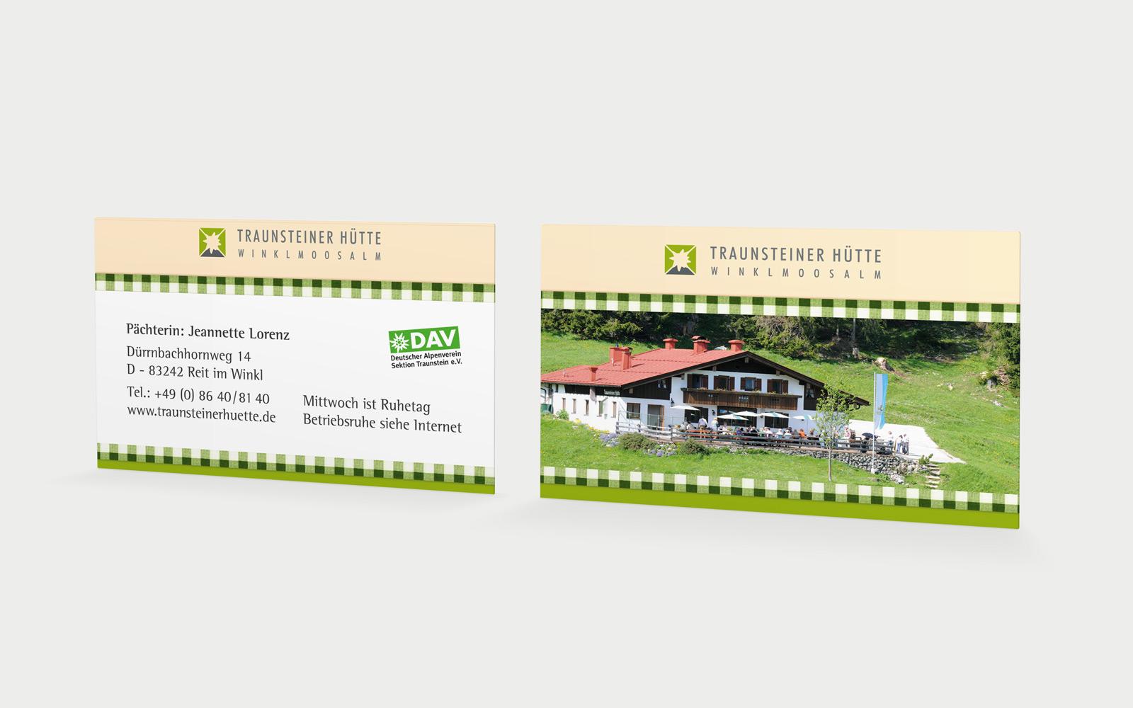 Traunsteiner Hütte Visitenkarten