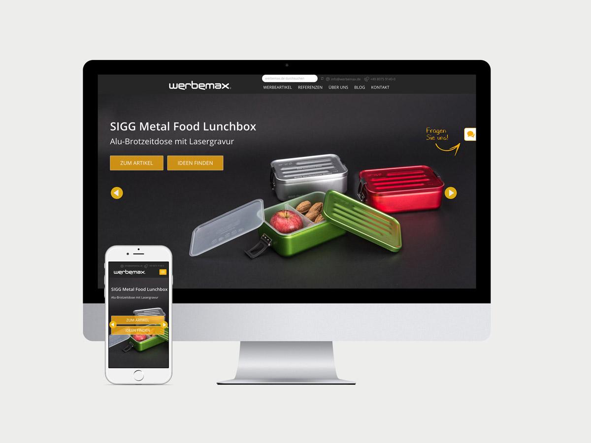 werbemax.de Startseite auf Desktop und i-Phone