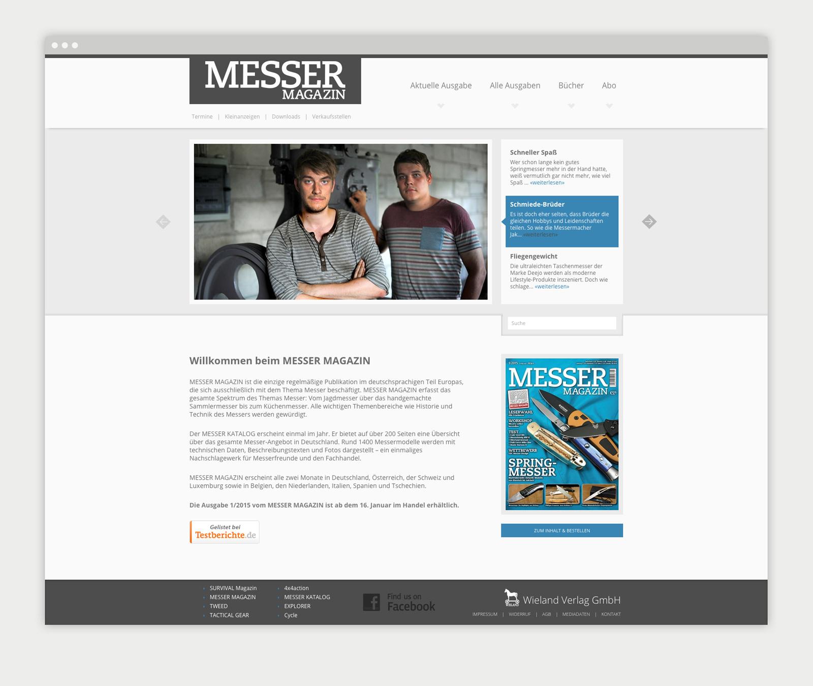Wieland Verlag Website Magazin Übersichtsseite