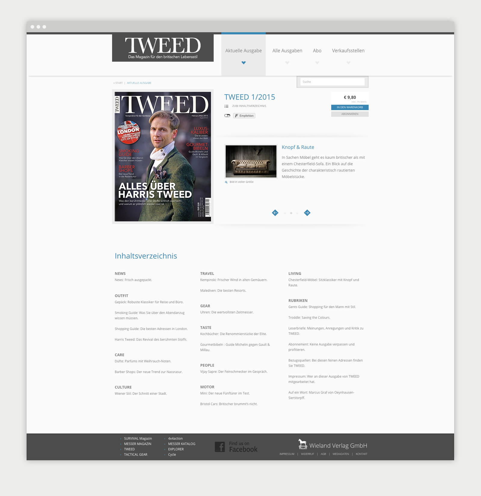 Wieland Verlag Website Magazin Detailseite