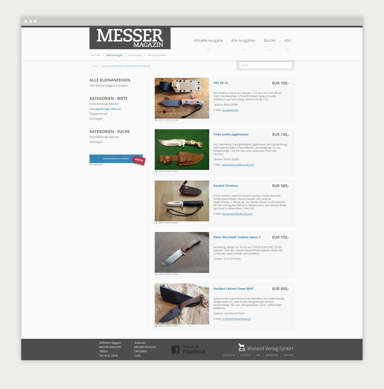 Wieland Verlag Website Kleinanzeigen